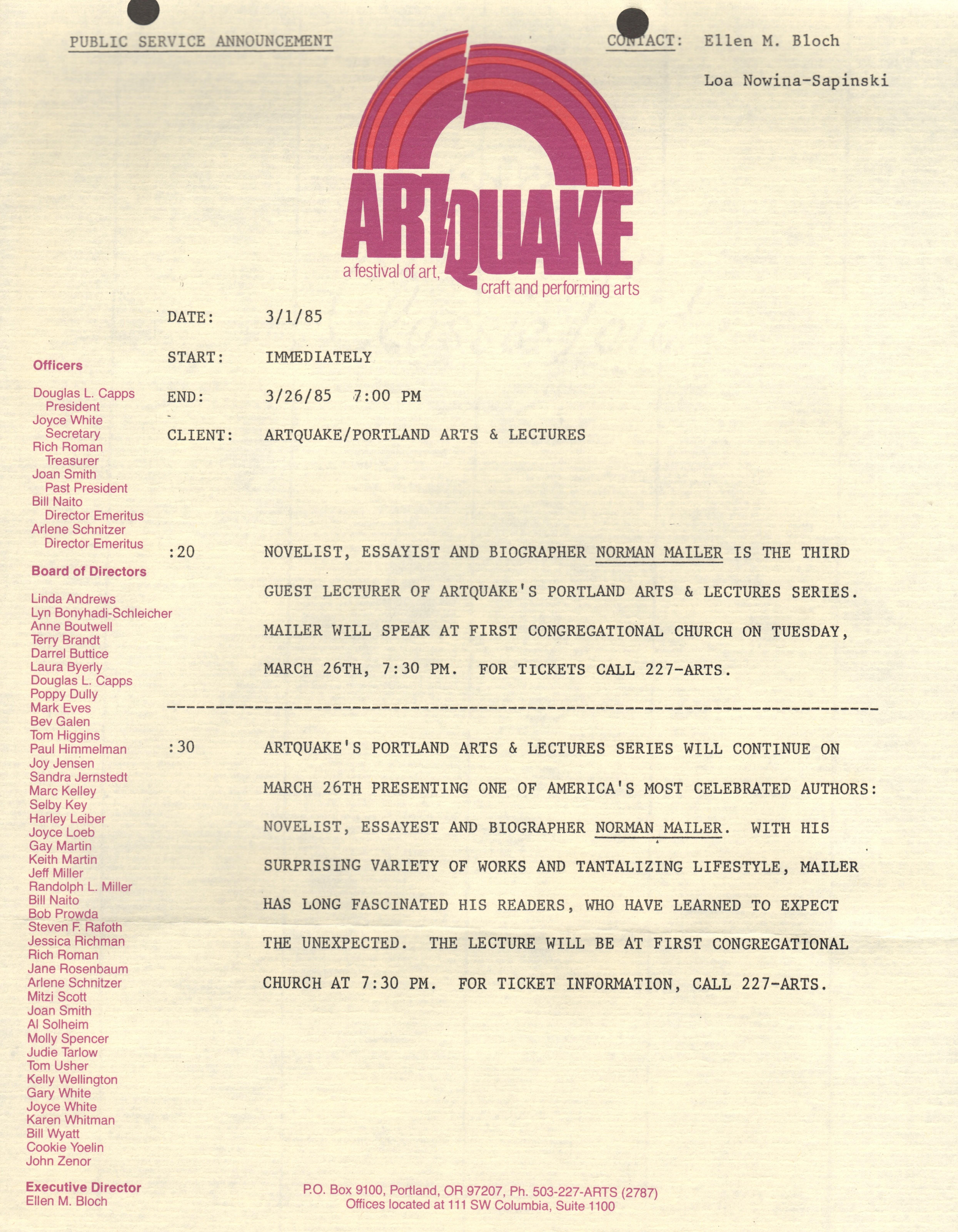 i 31985 Norman Mailer Artquake