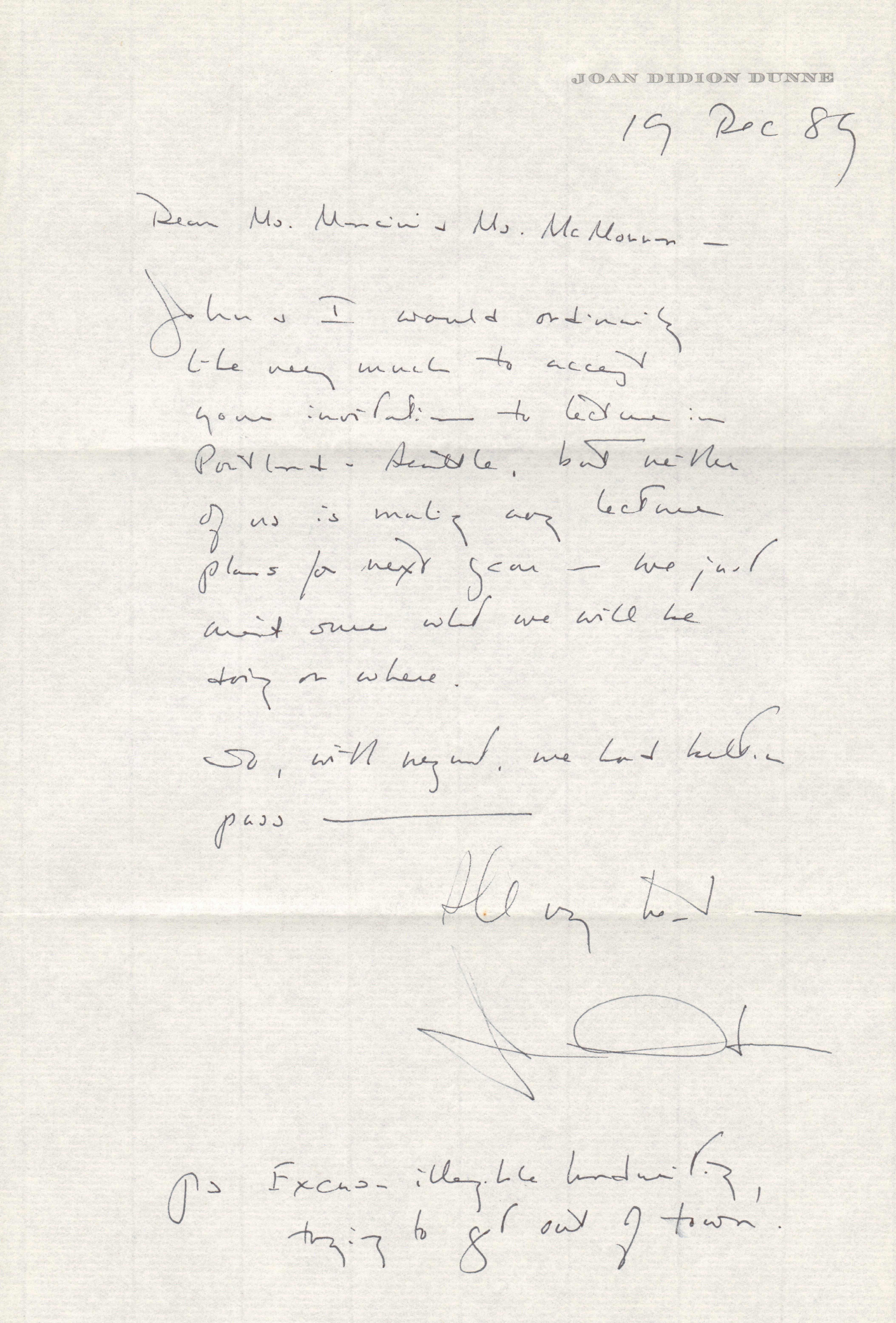 t 121989 PAL Joan Didion letter