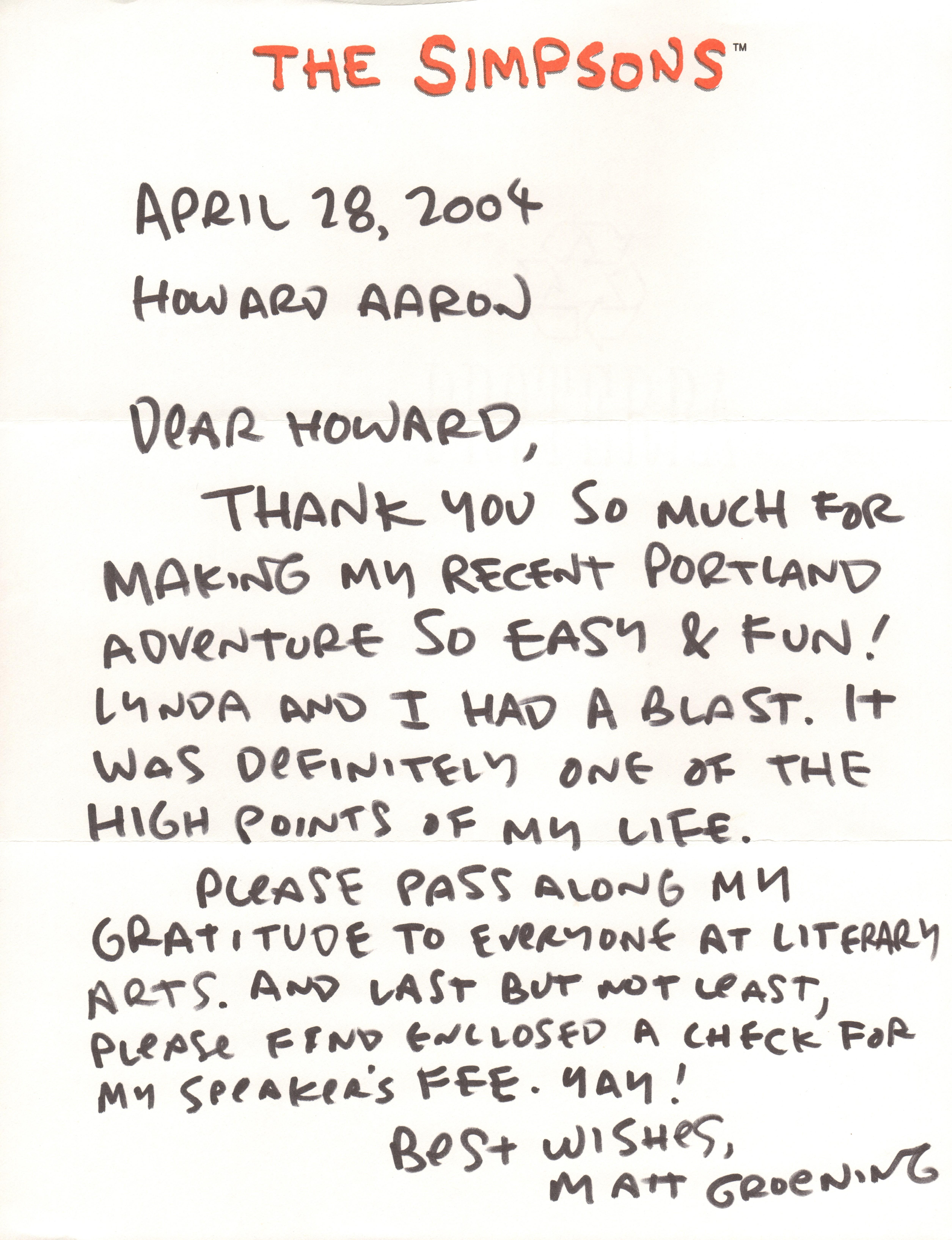 zt 42004 PAL Matt Groening letter