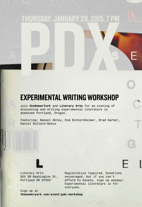 PDX Experimental Writing Workshop on January 29th