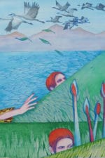 An illustration of a red-haired person peeking out of a lake, with geese flying overhead.