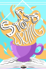 Illustration of a mug on top of an open book splilling its contents into the air, where the word Songwriting is drawn. Bright, pastel colors.
