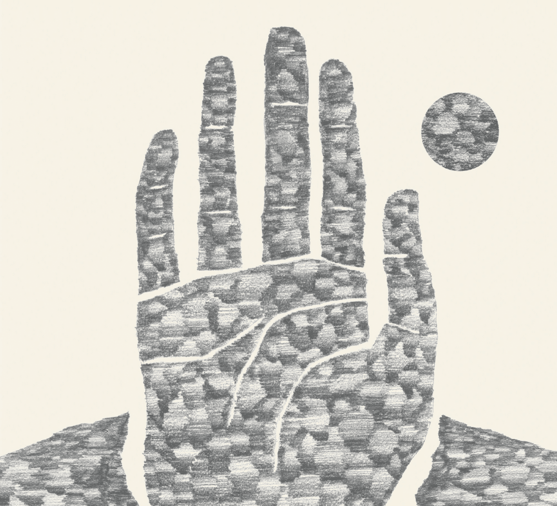 Heavily stylized pencil drawing of a hand reaching through broken ground, with a small circle representing the sun beside it.